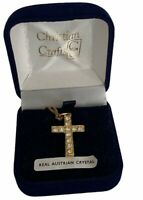Christian Crafts Austrian Crystal Cross Pendant Crucifix Necklace Gold Tone