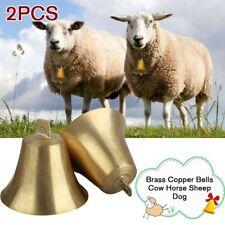 2x Brass Copper Bells Cow Horse Sheep Dog Animal Grazing Super Cattle Farm