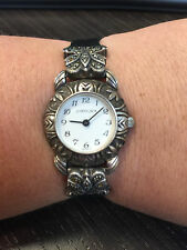 Judith Jack Sterling Silver 925 Black Marcasite Genuine Lizard Band Watch