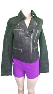 Levis Womens distressed black Leather nuknub suede Moto Zipper Jacket Sz SMALL