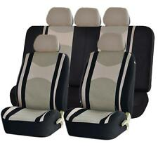 BLK BEIGE HONEYCOMB MESH AIRBAG READY SPLIT BENCH SEAT COVERS SET FOR CARS 1245
