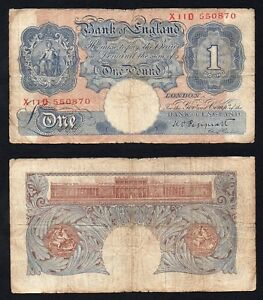 Inghilterra / England - 1  pound 1948(49) BB-/VF-  B-04