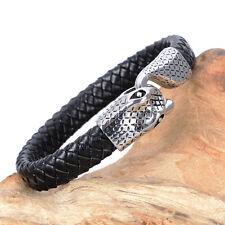 Mens Stainless Steel Snake Black Braided Leather Bangle Bracelet + Box #BR217