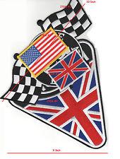 "CAFÉ RACER ROCKERS TON-UP BOYS 59 BIKER JACKET 10"" PATCH: UK + US + Checker Flag"