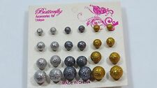 Ball Sphere stud earring set 12 pr Sparkle party favors Fun assorted sizes B