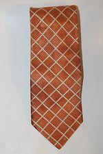 Classic Enrico Carlucci Men Neck Tie Orange Checkered Diamond Italy 100% Silk
