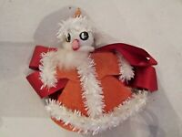 "Vintage SPUN COTTON SANTA pipe cleaner Ornament. 4"" tall. Japan."