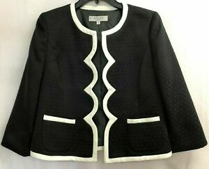 Women's Kasper Black Jacket w/White Scallop Trim & Texture Design, Size 8P, NWT