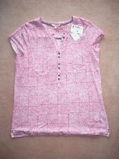NEW + TAGS White Stuff sz 10 Spa Linen Jersey shirt  coral pink beige fine knit