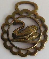 Vintage Horse Tack Brass Bridle Saddle Badge Ornament Swan Water Fowl Medallion