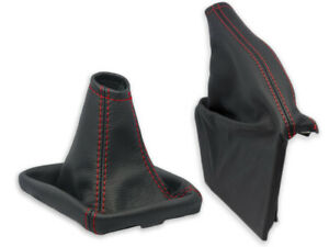 FOR SUBARU FORESTER SH 08-12 GEAR SHIFT BOOT + HANDBRAKE GAITER LEATHER s.RED