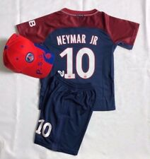 New 2018 Hat Kids Soccer Jersey Cap PSG Home #10 NEYMAR JR Kit Top+Short Set Cap