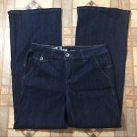 DKNY Women's Jeans Size 6 Low Rise Wide Leg Dark Wash Denim