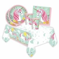 Girls Birthday Magical Unicorn Tableware Partyware Picnic Party Decoration Pink