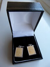 Silver-coloured Earrings with Soft-Yellowish Shimmer-effect, Oblong Stones