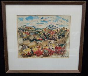 Mid Century Print John Marin Tank Mountains Autumn Maine 1945 fauvism cubism