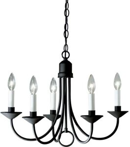 Chandelier 21 in. 5-Light Single Tier Candle-Style in Textured Black Finish