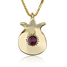necklace Gold Pomegranate 14k Yellow gold with 1.5 mm ruby stone