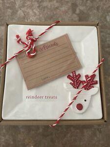 NEW ~ MUD PIE  CHRISTMAS For Santa Reindeer Treats Tidbit Plate