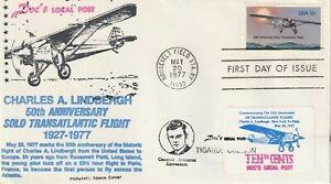 1977 USA cover Private Post - Doc`s Lokal Post Charles Lindbergh 50th Anniversar