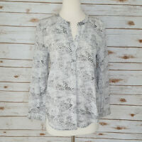 Joie 100% Silk Tunic Top S Black & White Dot Print Long Sleeve Blouse Peterson B
