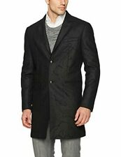 John Varvatos Men's 44R Long Top Overcoat Wool Black Peak Lapel