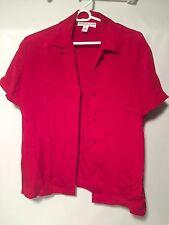 NWT Josephine Chaus lipstick red blouse w/pads 100% silk sz 6  - $78 retail
