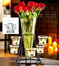 CIRCULAR CANDLEHOLDER STAND WITH VASE CENTERPIECE *LED or Candles* NIB