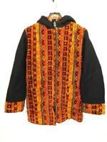Vintage 60s L Black Orange Red Stripe Tapestry Coat Insulated Hippie Zip Hood