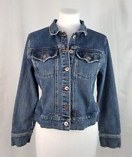 Hot Kiss Jr L Cropped Stretch Denim Jean Jacket Long Sleeve Distressed Dark Wash
