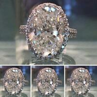 Frauen Silber Saphir Ring Strass Hochzeit Modeschmuck Runde Mode Ring