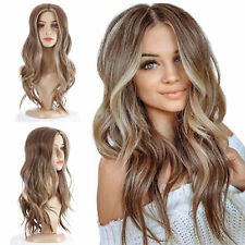 """22"""" Women Natural Soft Silky Wig Medium Long Curly Hair Heat Resistant Synthetic"""