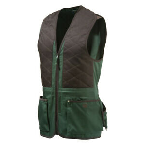 Beretta GT041 Trap Cotton Shooting Vest In Green and Coffee Size Large