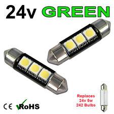 2 x Green 24v 39mm Festoon Interior Plate Light 242 C5W 3 SMD Bulbs HGV Truck