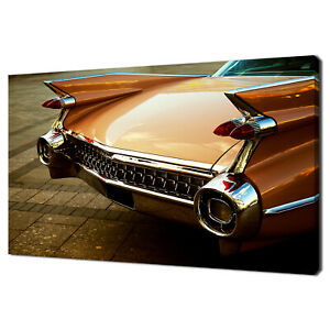 BACK OF THE VINTAGE RETRO CAR MODERN DESIGN CANVAS PRINT WALL ART PICTURE