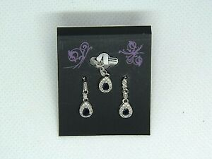 Genuine 0.65 ct Sapphire Sterling Silver Pendant and Dangle Earring Set