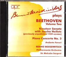 BENNO MOISEIWITSCH Plays BEETHOVEN Vol.2 CD Violin/Piano Sonata Heifetz/Sargent