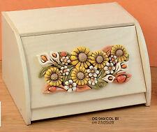 Portapane legno bianco decapè, girasole in ceramica di Capodimonte OG0049/COLBI