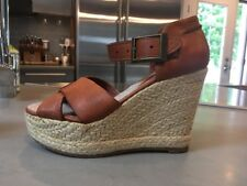 Women's BLACKSTONE Handcrafted DL-39 Leather Wedge Espadrilles Size Euro 39 US 7