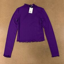 H&M Divided Womens Small Purple Mesh Mock-Turtleneck Top NWT