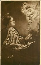 DB Religious Postcard E258 St. Cecilia Playing Organ Piano with Angels 1911 Post