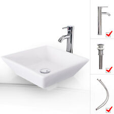Bathroom Ceramic Vessel Sink W/ Faucet Square White Bowl Pop Up Drain Top Combo