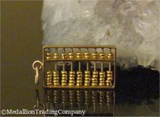 """Vintage 14k Yellow Gold Math Abacus .90"""" Charm Pendant Moving Counting Beads"""