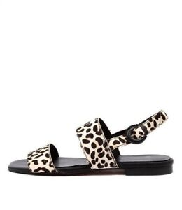 Mollini Alaura Ocelot Leather Womens Shoes Casual Sandals Flat Worn Once 38