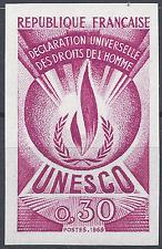 SERVICE N°39 DROITS DE L'HOMME ESSAI COULEUR ROSE PROOF IMPERF 1969 NEUF ** MNH