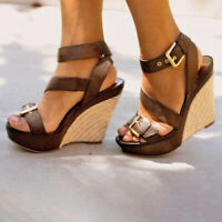 Womens High Wedge Platform Heels Buckle Strap Roman Sandals Open Toe Pumps Shoes