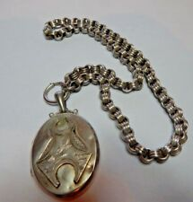 Antique Victorian Silver  locket and collar 46 Grams 18 inch chain Tests Silver