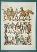 GREECE Costume Men Women Children Peasants Soldiers - 1883 Color Litho Print