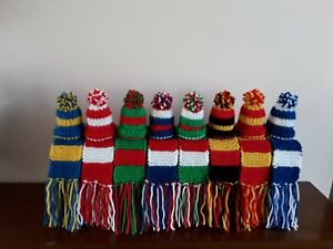 """HAND KNITTED  12"""" STRIPE SCARF/HAT / BOTTLE TOPPER FOR YOUR DOLL /BEAR"""