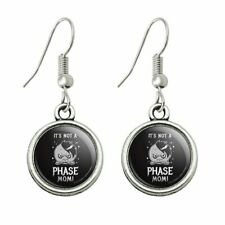 Humor Novelty Dangling Drop Charm Earrings It's Not a Phase Mom Moon Funny